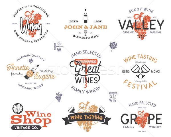 Wine logos, labels set. Winery, wine shop, vineyards badges collection. Retro colors. Typographic ha Stock photo © JeksonGraphics