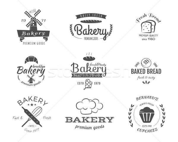 Szett pékség címkék ikonok jelvények terv Stock fotó © JeksonGraphics