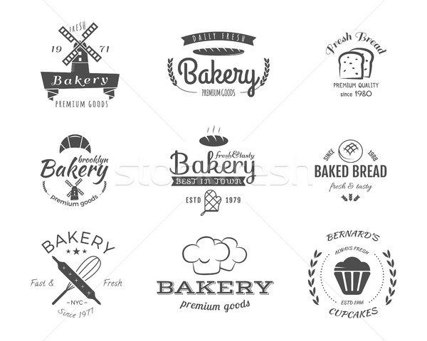 Set of bakery labels, icons, badges and design elements, symbols. Fresh bread, cakes logo templates. Stock photo © JeksonGraphics
