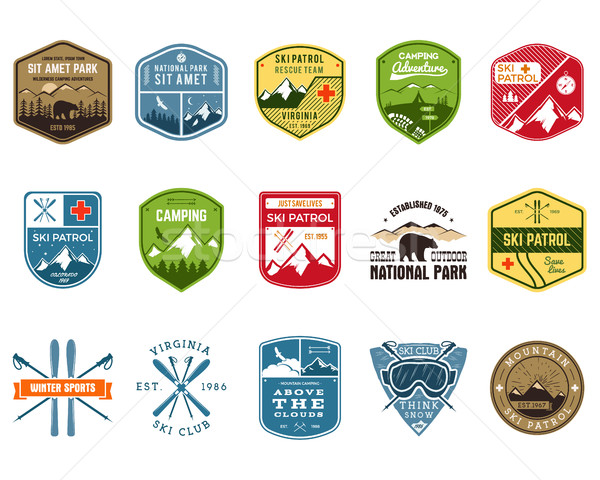 Set of Ski Club, Patrol Labels. Vintage Mountain winter camp explorer badges. Outdoor adventure logo Stock photo © JeksonGraphics