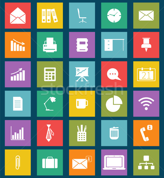 Business and office Flat icons for Web and Mobile Apps. Can be used as elements in infographics, log Stock photo © JeksonGraphics