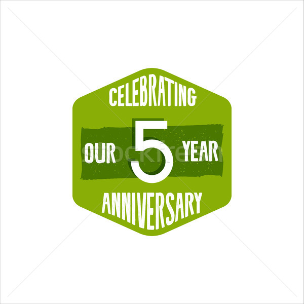 Celebrating 5 year anniversary badge, sign and emblem in retro color style. Easy to edit and use you Stock photo © JeksonGraphics