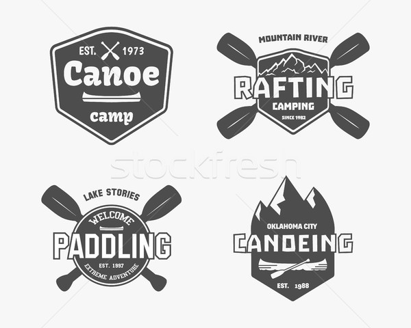Set of vintage rafting, kayaking, canoeing camp logo, labels and badges. Stylish Monochrome design.  Stock photo © JeksonGraphics