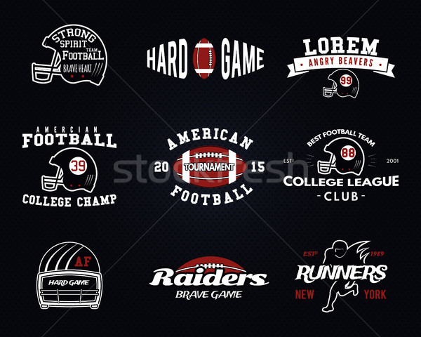 Set of American football, college league labels, logos, badges, insignias, icons in vintage style. G Stock photo © JeksonGraphics