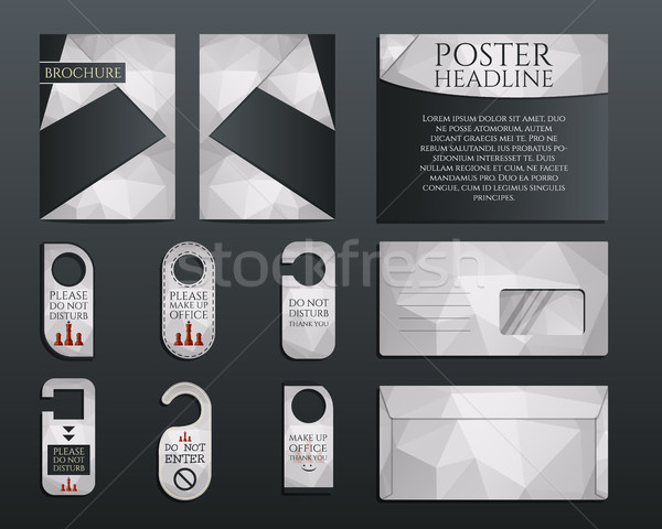 Business corporate branding identity set. Brochure and flyer design template, envelope, stickers in  Stock photo © JeksonGraphics