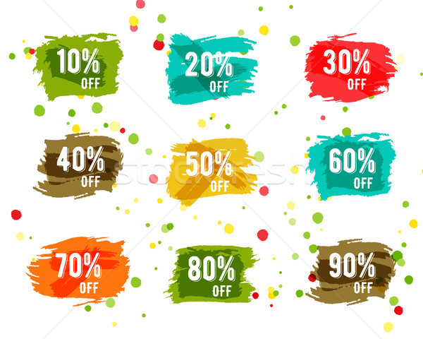 Christmas, new year, black friday, cyber monday or winter autumn sale percents. paint watercolor bru Stock photo © JeksonGraphics