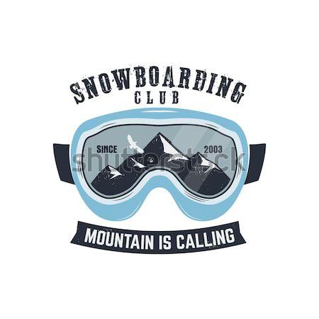 Snowboard lunettes extrême logo étiquette modèle Photo stock © JeksonGraphics