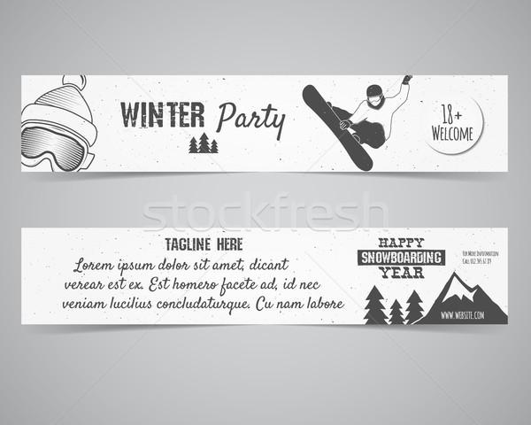 Holiday Identity templates. Christmas banner, flyer design with xmas symbols - tree, snow. Winter pa Stock photo © JeksonGraphics
