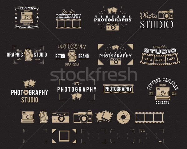 Camera logo. Vintage Photography Badges, Labels, dslr. Hipster design with photographer elements. Re Stock photo © JeksonGraphics