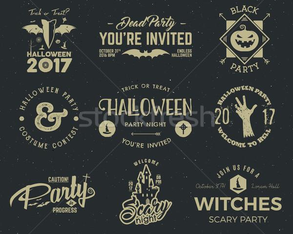 Halloween strony etykiety szablony scary symbolika Zdjęcia stock © JeksonGraphics