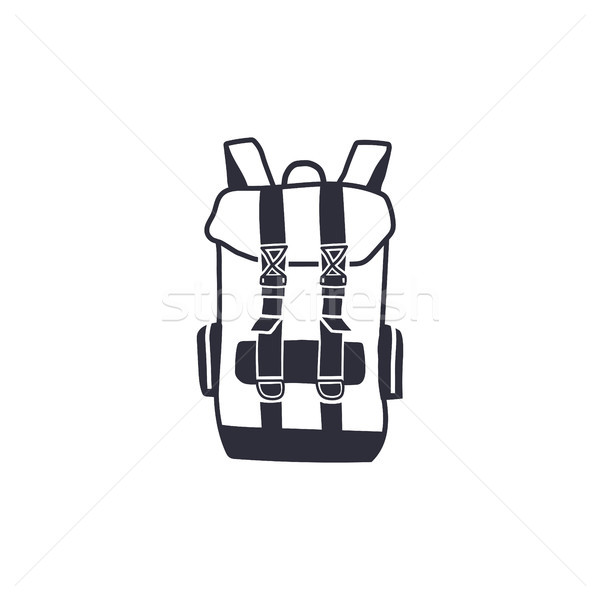 Vintage hand drawn backpack shape in monochrome engrave line style. Adventure icon, pictogram. Campi Stock photo © JeksonGraphics