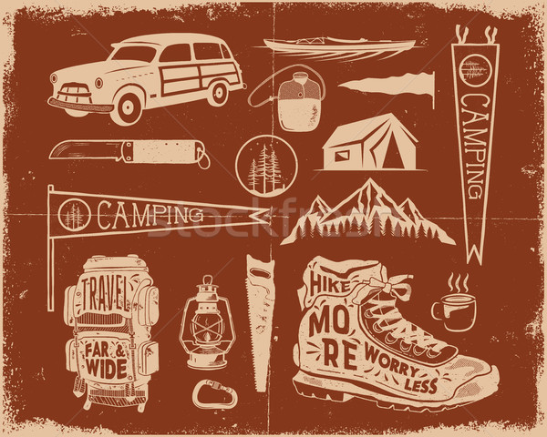 Vintage hand drawn adventure symbols, hiking, camping shapes of backpack, pennant, kayak, surf car,  Stock photo © JeksonGraphics