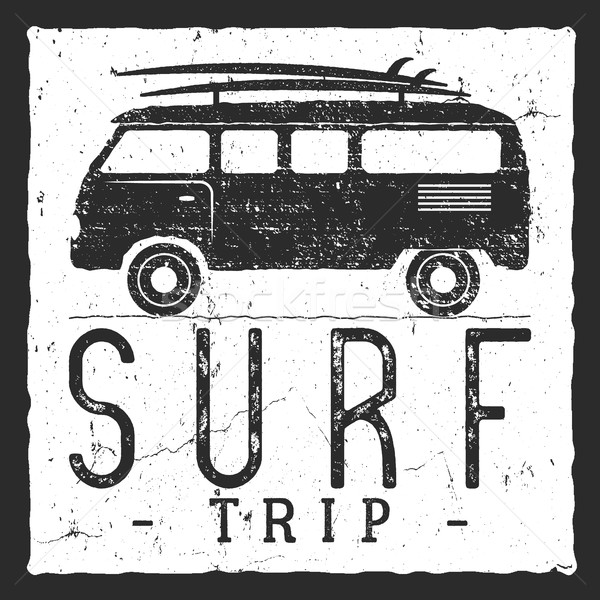Surf trip concept. Vector Summer surfing retro badge. Beach surfer emblem , rv outdoors banner, vint Stock photo © JeksonGraphics