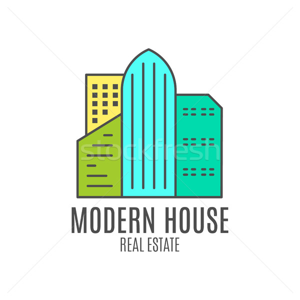Vector modern house logo design, real estate icon suitable for info graphics, websites and print med Stock photo © JeksonGraphics