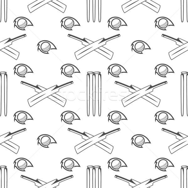 Sport pattern. Cricket retro background. Seamless of accessories. Bat ball symbols. for design, web, Stock photo © JeksonGraphics
