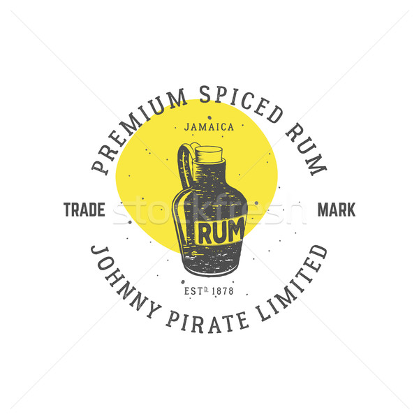 Vintage handcrafted pirate rum emblem, alcohol label, logo. Isolated on white background. Sketching  Stock photo © JeksonGraphics