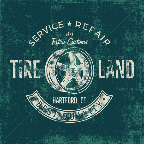 Garage service vintage tee design graphics, Tire land, repair service typography print. T-shirt stam Stock photo © JeksonGraphics