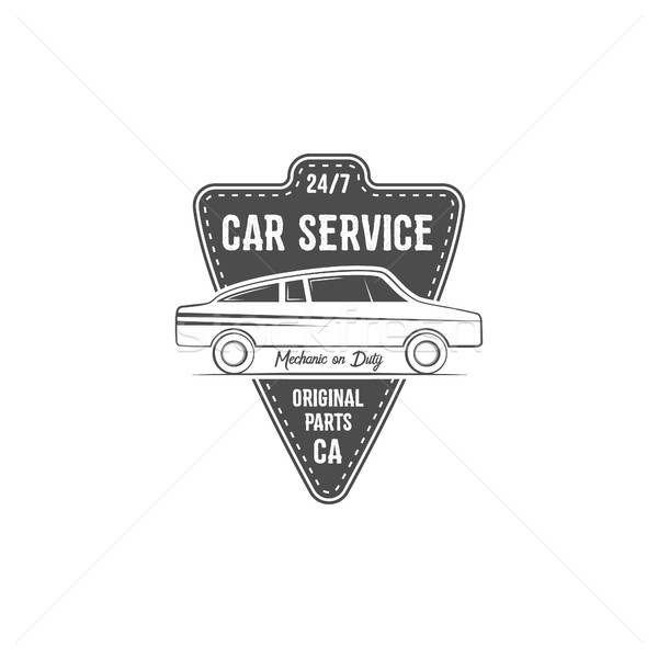 Vintage car service label design. Automotive emblem in monochrome retro  and typography elements. Go Stock photo © JeksonGraphics