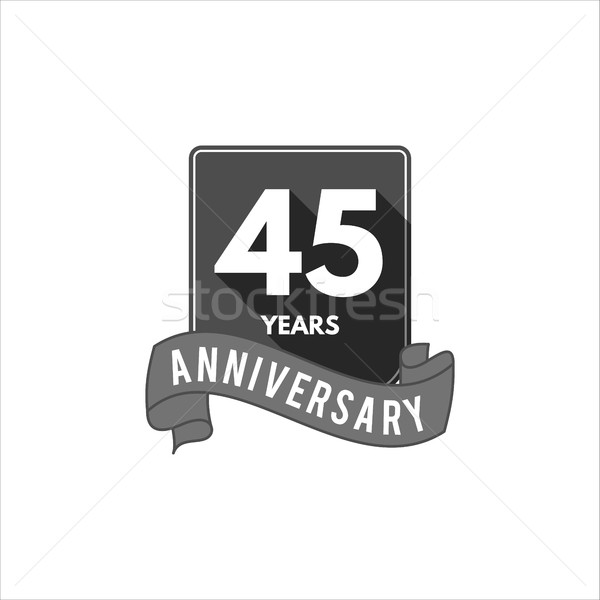 45 years Anniversary badge, sign and emblem with ribbon and typography elements. Flat monochrome des Stock photo © JeksonGraphics