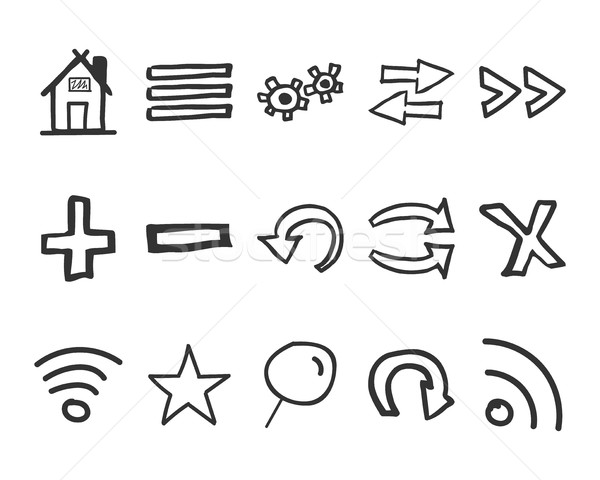 Set of hand drawn web icons and logo, internet browser elements. Sketch, doodle stylish and unusual  Stock photo © JeksonGraphics
