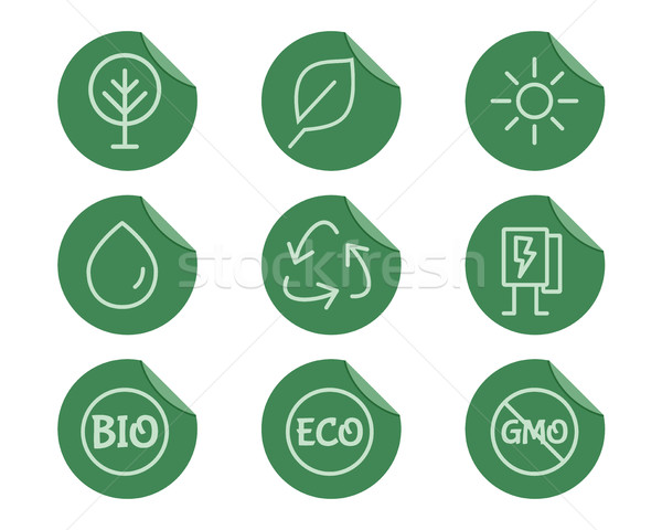 Green, Ecology and environmental protection outline icon set. Thin line design. Eco technologies. On Stock photo © JeksonGraphics
