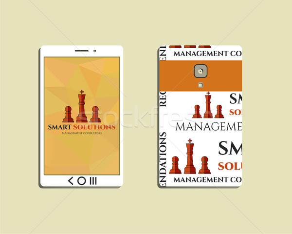 Stock photo: Flat Mobile device and smart phone. Chess Smart solutions design template with management Consulting