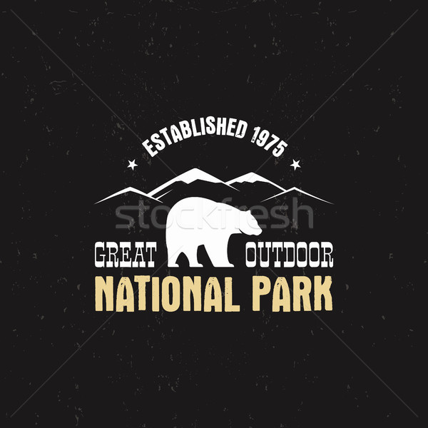 Stamp for national park, camp. Tourism hipster style patch, badge. Expedition emblem. Winter or summ Stock photo © JeksonGraphics