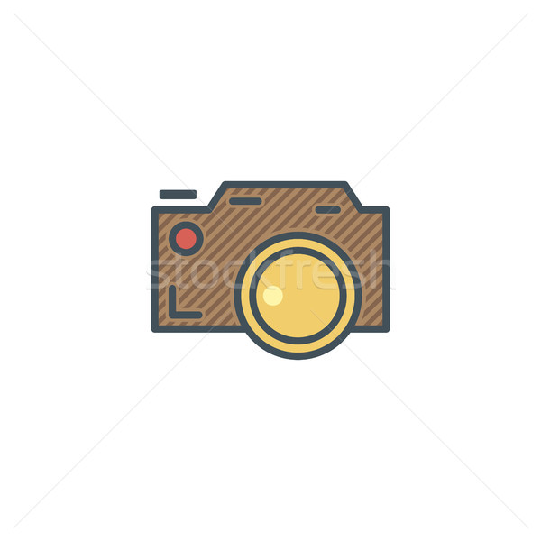 Camera icon in cute flat style. Camp icon. Best for outdoor adventure sites, tee, t shirt prints etc Stock photo © JeksonGraphics