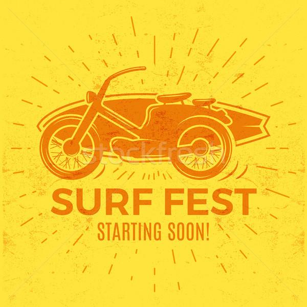 Vintage Surfing tee design. Retro Surf fest t-shirt Graphics and Emblem for web design or print. Sur Stock photo © JeksonGraphics