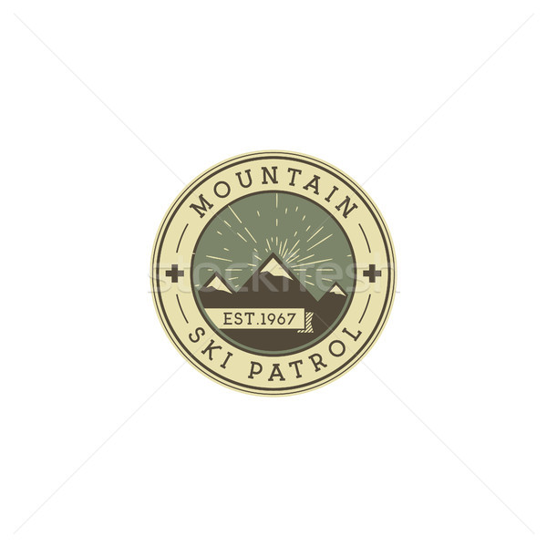 Camping Label. Vintage Mountain ski patrol patch. Outdoor adventure logo design. Travel retro and hi Stock photo © JeksonGraphics