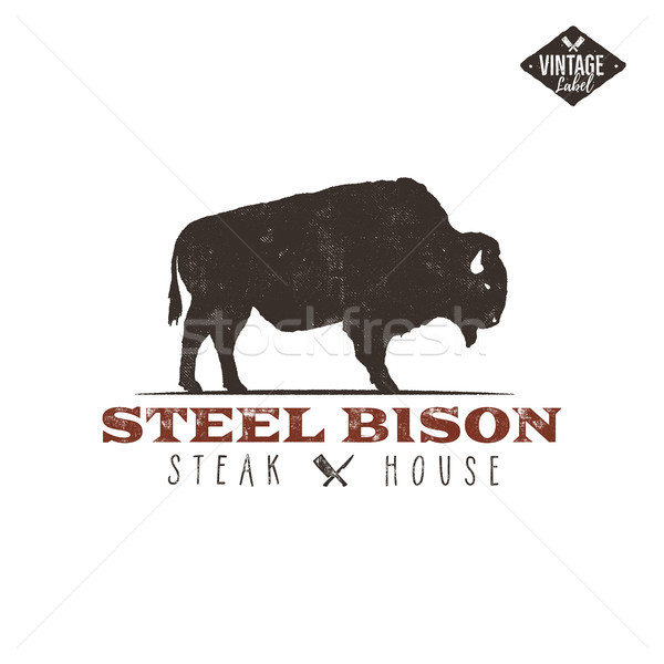 Stock photo: Steak House vintage Label. Typography letterpress design. Vector retro logo. Included bbq grill symb
