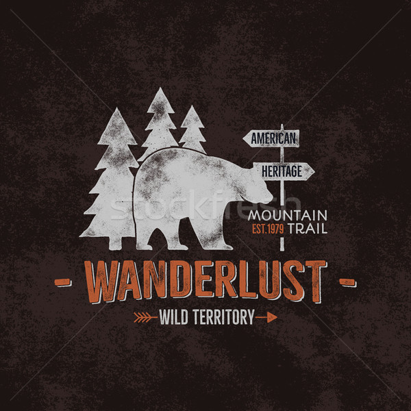 Vintage wild emblem. Retro illustration of wilderness emblem. Typography and rough style. Wild logo  Stock photo © JeksonGraphics