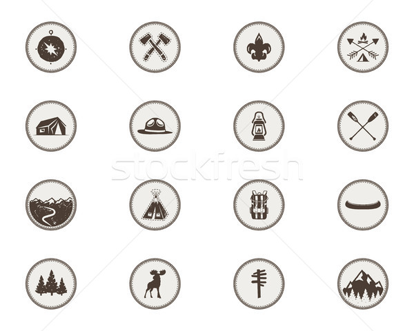 Boy scouts icons, patches. The full bundle. Camping stickers. Tent symbol, moose pictogram, backpack Stock photo © JeksonGraphics