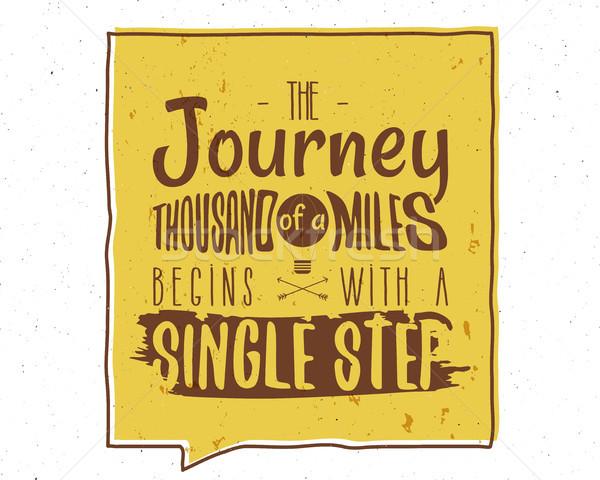 Utazás ezer mérföldek ösztönző kreatív motiváció Stock fotó © JeksonGraphics