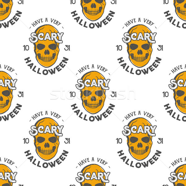 Halloween skulls seamless pattern with holiday wish typography. Scary halloween wallpaper. Stock iso Stock photo © JeksonGraphics