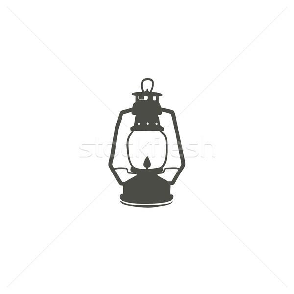 Kempingezés lámpás ikon sziluett petróleumlámpa fekete Stock fotó © JeksonGraphics