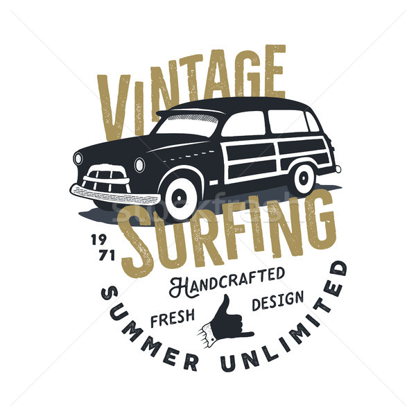 Vintage hand drawn tee print design with retro surf car, shaka sign and typography elements. Surf pr Stock photo © JeksonGraphics