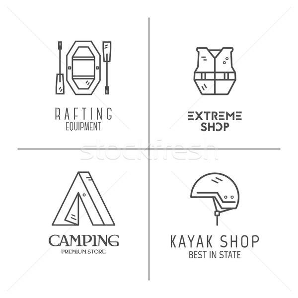 Colección rafting logos línea Foto stock © JeksonGraphics