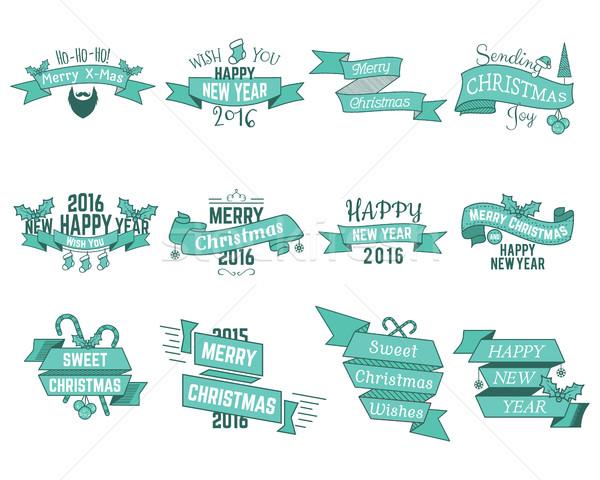 Karácsony új év tél kívánságok szalagok gyűjtemény Stock fotó © JeksonGraphics