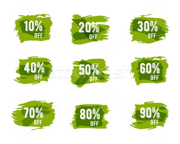 Green, ecology sale percents. Autumn colors. paint watercolor brush, splash. Stylish unique design f Stock photo © JeksonGraphics