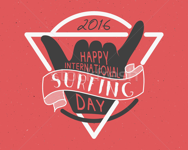 Summer surfing day tattoo design. Vector Vacation typography print emblem. Surfer party with surf sy Stock photo © JeksonGraphics