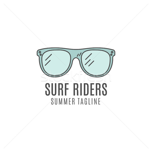Minimalistic surfing glasses logo concept. Summer Thin line flat tropical design. Lineart Surfer gea Stock photo © JeksonGraphics