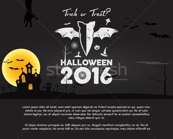 Happy Halloween 2016 Poster. Trick or treat letters and halloween holiday symbols - bat, pumpkin, ha Stock photo © JeksonGraphics