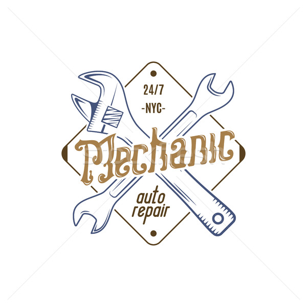 Mechanic repair service label. Illustration of repair service isolated on white. Vintage tee design  Stock photo © JeksonGraphics