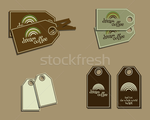 Set of coffee brand identity labels - stickers for cafe bar, restaurant etc. Ecology theme. Green ec Stock photo © JeksonGraphics