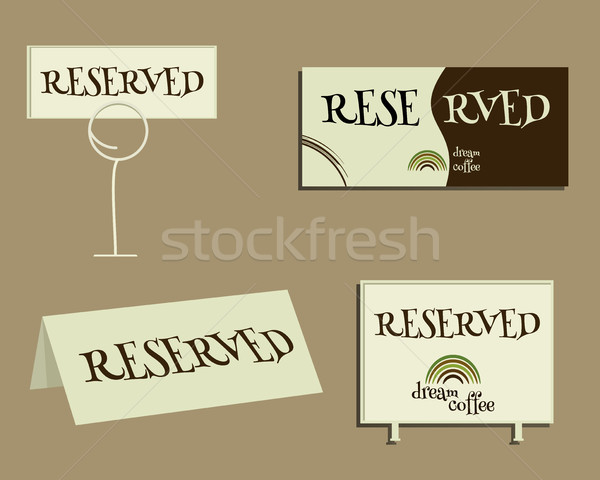 Reservation sign. With Green coffee logo design and coffee stains. Best for cafe, restaurant and oth Stock photo © JeksonGraphics
