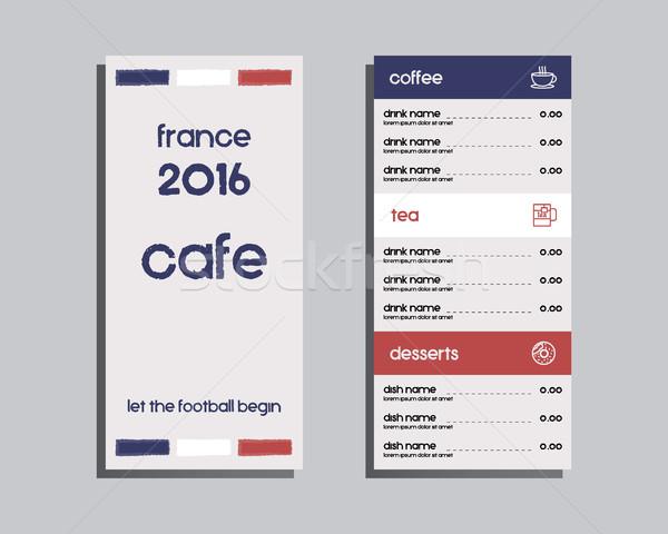 Restauracji Kafejka menu projektu Francja 2016 Zdjęcia stock © JeksonGraphics