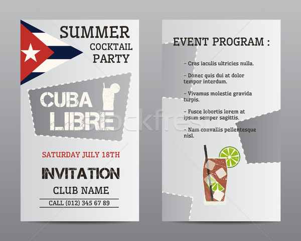 Zomer cocktail party flyer lay-out sjabloon Cuba Stockfoto © JeksonGraphics