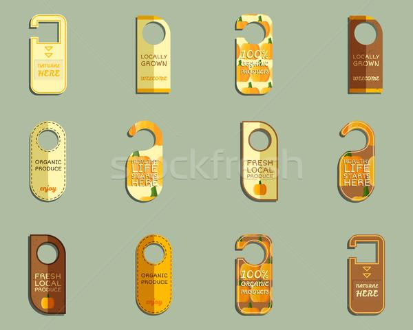 Farm friss márka ajtó jelvények szett Stock fotó © JeksonGraphics