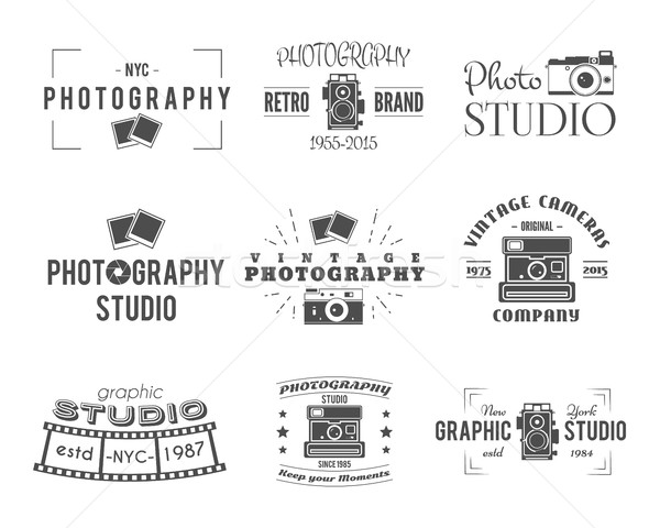 Vintage Photography Badges, Labels. Monochrome design with stylish cameras and elements. Retro style Stock photo © JeksonGraphics